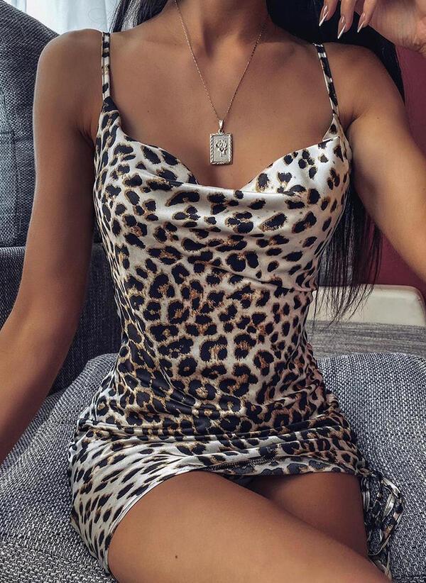 Leopard Sleeveless Bodycon Above Knee Sexy Slip Dresses