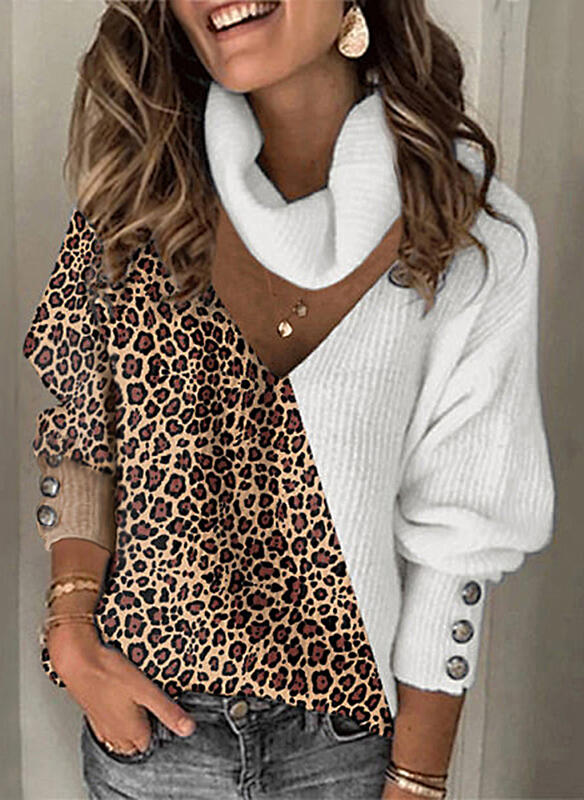 Color Block Leopard Turtleneck Casual Sweaters