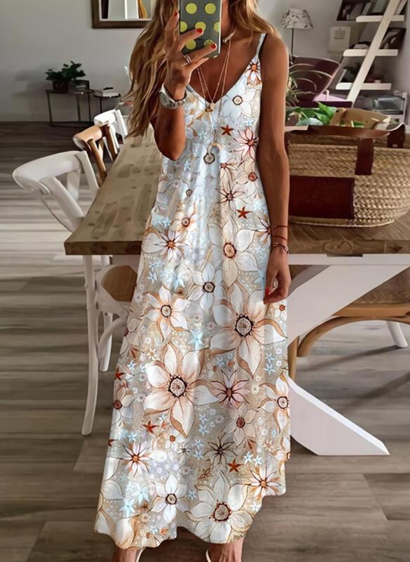 Print/Floral Sleeveless Shift Slip Casual/Vacation Maxi Dresses