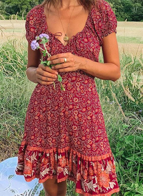 Print Short Sleeves A-line Knee Length Casual/Boho/Vacation Dresses