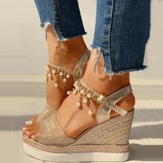 Women's PU Wedge Heel Sandals Wedges Peep Toe Heels With Rhinestone shoes