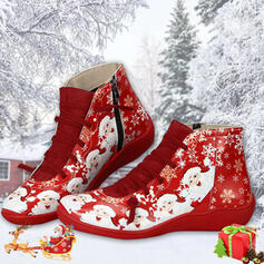 Women's PU Flat Heel Knee High Boots Round Toe Winter Boots With Lace-up Splice Color shoes