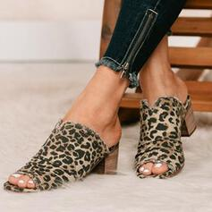 Women's Suede Chunky Heel Sandals Closed Toe Slippers With Animal Print Hollow-out shoes