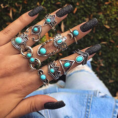 Cool Boho Alloy Turquoise Women's Rings (Set of 11)
