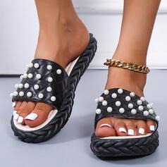 Women's PU Flat Heel Sandals Peep Toe With Imitation Pearl shoes