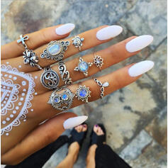 Chic Boho Alloy With Rhinestone Rings (Set of 11)