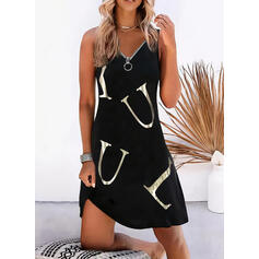 Print/Letter Sleeveless Shift Above Knee Casual/Vacation Tank Dresses