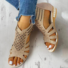 Women's PU Low Heel Sandals Wedges Peep Toe Heels With Hollow-out shoes