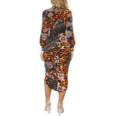 Leopard Long Sleeves/Cold Shoulder Sleeve Bodycon Asymmetrical Casual Pencil Dresses