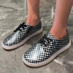 Women's PU Flat Heel Flats With Lace-up Crisscross shoes