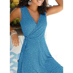 Print Sleeveless A-line Knee Length Casual/Vacation Wrap/Skater Dresses