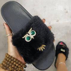 Women's Suede Flat Heel Sandals Peep Toe Slippers With Rhinestone Faux-Fur shoes