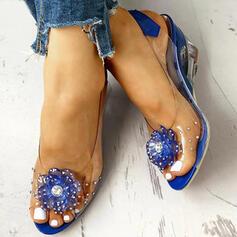 Women's PU Wedge Heel With Rhinestone Transparent shoes