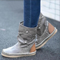 Women's PU Flat Heel Mid-Calf Boots Round Toe With Rivet shoes