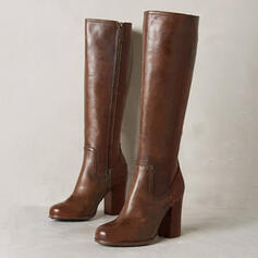 Women's Leatherette Chunky Heel Boots Knee High Boots With Zipper shoes