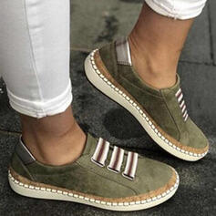 Women's PU Flat Heel Flats Round Toe Slip On With Patchwork Splice Color shoes