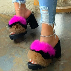 Women's Leatherette Chunky Heel Sandals Platform Peep Toe Slippers With Faux-Fur Elastic Band shoes