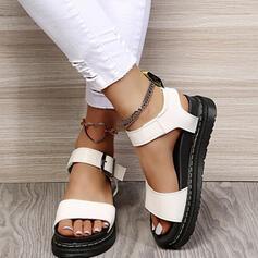 Women's PU Flat Heel Sandals Flats Platform Peep Toe Slingbacks With Buckle Solid Color shoes