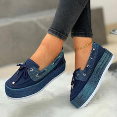 Women's Suede Flat Heel Flats Round Toe Slip On With Lace-up Splice Color shoes