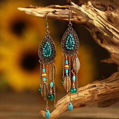 Tassels Design Drop Shape Alloy Beads Women's Earrings 2 PCS