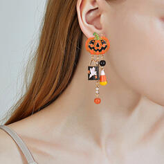 Halloween Pumpkin Alloy With Tassels Earrings 2 PCS