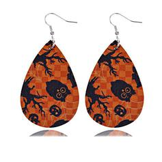 Skull Halloween Pumpkin PU Earrings 2 PCS