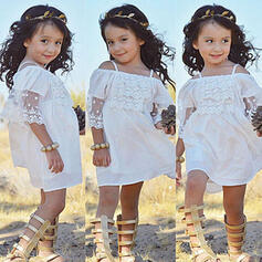 Toddler Girl Ruffle Solid Lace Cotton Dress