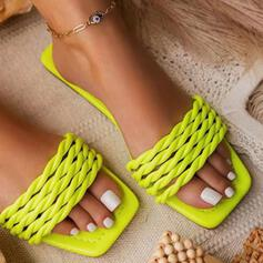 Women's PU Flat Heel Sandals Peep Toe Slippers With Braided Strap Solid Color shoes
