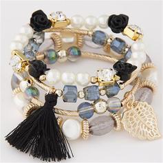 Leaves Shaped Alloy Beads Women's Bracelets (Set of 4)