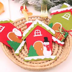 Christmas Merry Christmas Snowman Reindeer Santa House Non-Woven Fabric Tableware Cover