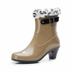 PVC Chunky Heel Mid-Calf Boots Snow Boots Rain Boots Round Toe Slip On With Buckle shoes