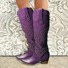Women's PU Chunky Heel Riding Boots Round Toe With Rivet Zipper shoes