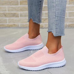 Women's Flying Weave Flat Heel Flats Low Top Round Toe Sneakers Slip On With Solid Color Stripe shoes