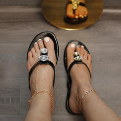 Women's PU Flat Heel Sandals Flats Peep Toe Slippers Round Toe With Rhinestone Hollow-out shoes