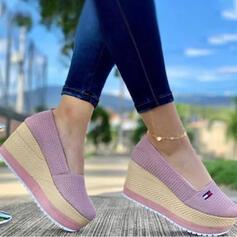 Women's Cloth Mesh Wedge Heel Sandals Wedges Peep Toe Heels With Solid Color shoes