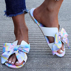 Women's PU Flat Heel Sandals Peep Toe Slippers With Bowknot shoes