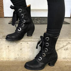 Women's Leatherette Chunky Heel Mid-Calf Boots Round Toe With Buckle Lace-up Splice Color shoes