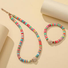 Exotic Colourful Boho Alloy Soft Clay With Rhinestone Jewelry Sets Necklaces Bracelets (Set of 2)