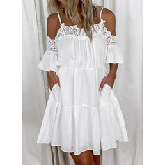 Lace/Solid Short Sleeves/Flare Sleeves Shift Above Knee Casual Tunic Dresses