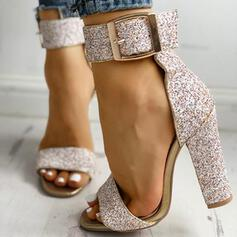 Women's Leatherette Chunky Heel Sandals Peep Toe With Sequin Sparkling Glitter Buckle shoes