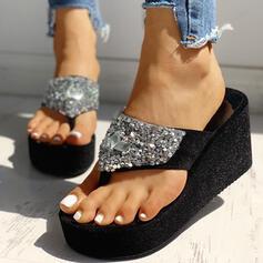 Women's Suede Wedge Heel Sandals Platform Wedges Flip-Flops Slippers Heels With Rhinestone Sequin shoes