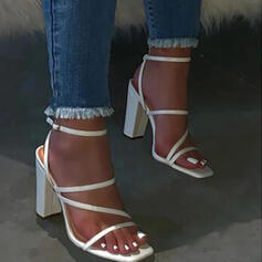 Women's PU Chunky Heel Sandals Flats Peep Toe Slingbacks Slippers With Buckle Solid Color shoes