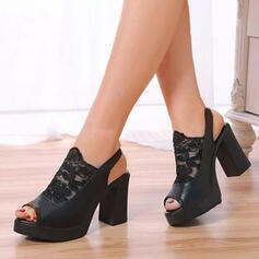 Women's PU Chunky Heel Sandals Platform Peep Toe Heels With Hollow-out Bandage shoes