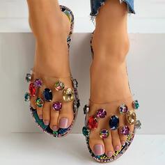 Women's PVC Flat Heel Flats Peep Toe Slippers With Rhinestone shoes