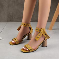 Women's PU Chunky Heel Sandals Square Toe Heels With Rivet shoes