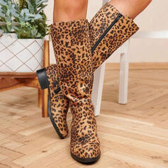 Women's PU Chunky Heel Knee High Boots Round Toe With Animal Print Zipper shoes