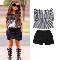 2-pieces Baby Girl Ruffle Striped Print Cotton Set