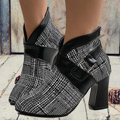 Women's PU Chunky Heel Pumps Boots Heels With Buckle Splice Color shoes