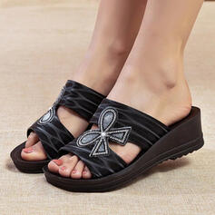 Women's Microfiber Wedge Heel Sandals Wedges Peep Toe Slippers With Bowknot Hollow-out shoes