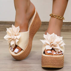 Women's PU Wedge Heel Sandals Peep Toe Slippers With Applique shoes